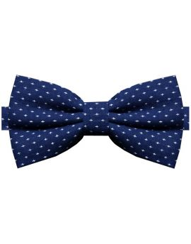Dark Blue With White Crosses Bow Tie