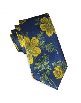 dark blue with yellow floral slim tie