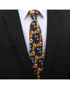 dark blue and yellow floral slim tie