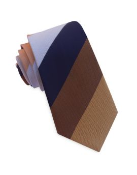 Dark Blue, Bronze, Silver & Copper Stripes Slim Tie