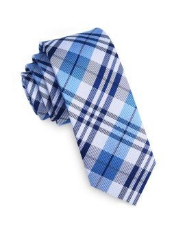 Dark Blue, Light Blue & White Plaid Skinny Tie
