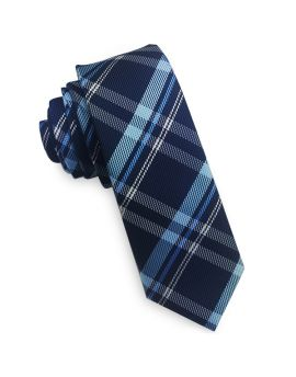 Dark Blue, Light Blue & White Tartan Skinny Tie