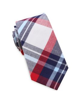 Dark Blue, Light Blue, Red & White Tartan Slim Tie