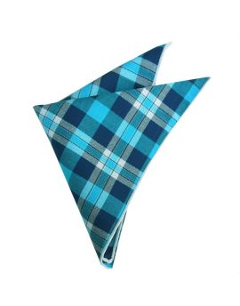 turquoise, dark blue and white plaid design