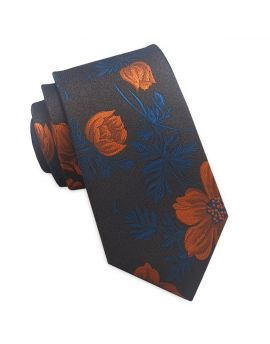brown with orange floral slim tie