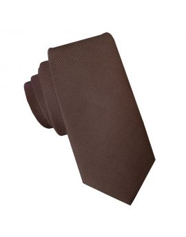 Dark Brown Cotton Blend Skinny Tie