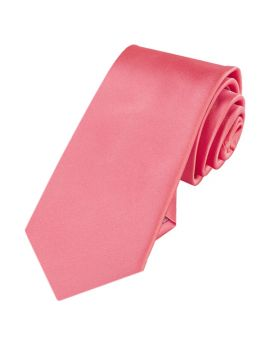 Mens Dark Coral Plain 7cm Slim Tie