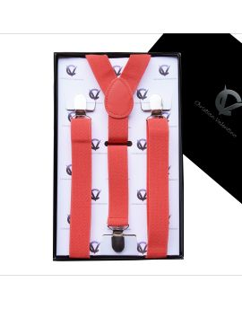 Boy's Dark Coral Salmon Braces Suspenders Y2.5cm