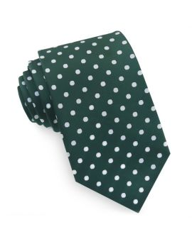 Dark Green Polka Dot Mens Tie