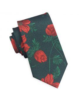 dark green with floral slim tie