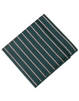 Dark Green with White Stripes Pocket Square