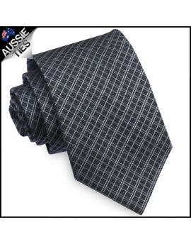 Black & Grey Crosshatch Mens Tie