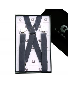 Boy's Dark Grey Braces Suspenders X2.5cm