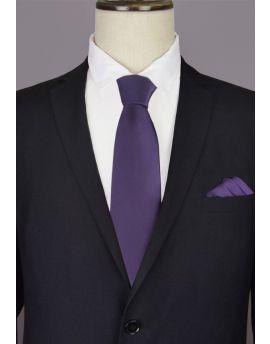 dark purple tie and pocket square
