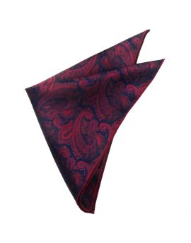 Dark Red & Blue Paisley Pocket Square