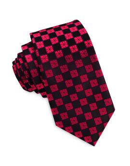 Dark Red with Cracked Red Checks Slim Tie