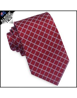 Dark Red with White Diamonds Mens Necktie