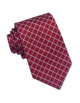 Dark Red with White Diamonds Mens Tie