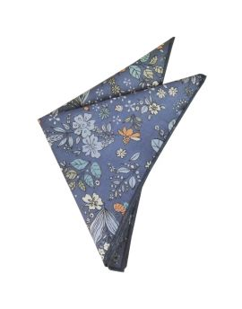 denim blue floral pocket square