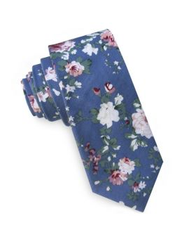 Denim Blue with Floral Men's Slim Tie