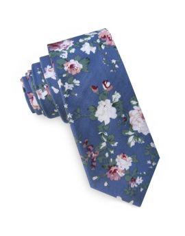 Denim Blue with Floral Men's Slim Tie