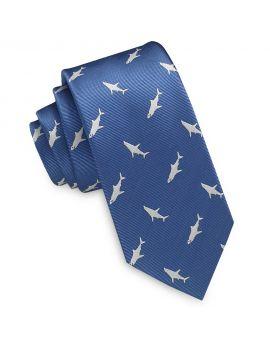 Denim Blue with White Sharks Slim Tie