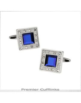 Diamante Edge With Royal Blue Inset Cufflinks