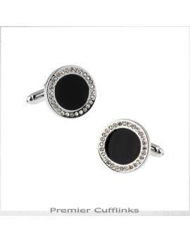 Diamante Edged with Black Inset Cufflinks