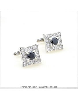 Diamante with Black Inset Cufflinks