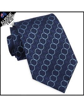 Midnight Blue With Cascading Rings Tie