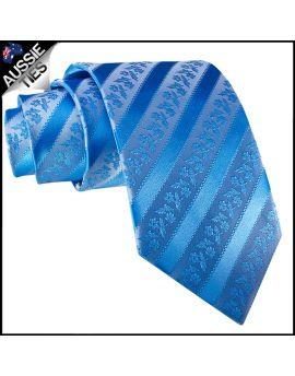 Light Blue Floral Stripes Necktie