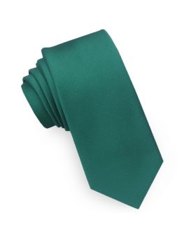 Emerald Green Ribbed 6cm Mens Slim Tie