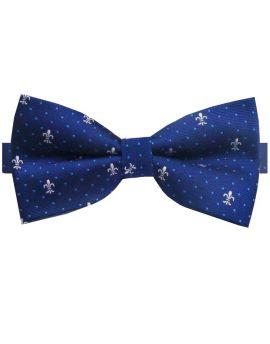 Navy With White Fleur De Lis Bow Tie