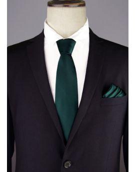 dark green tie and pocket square