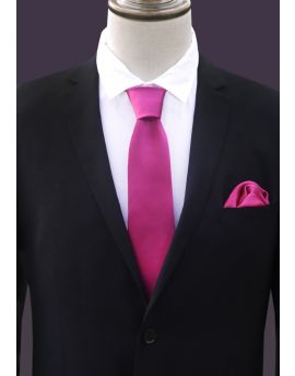 Fuchsia Tie and Pocket Square