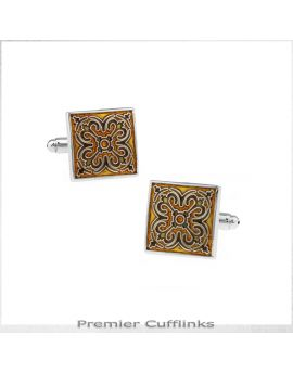 Gold and Black Tapestry Cufflinks