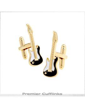 Gold Electric Guitar Cufflinks