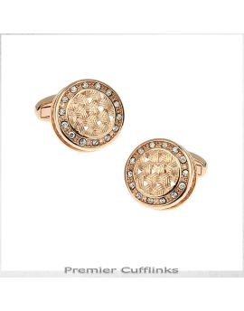 Gold Rustic with Gem Insets Cufflinks