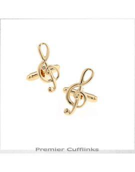 Gold Treble Clef Cufflinks
