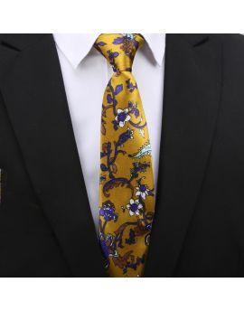 Gold with Indigo Floral Slim Tie
