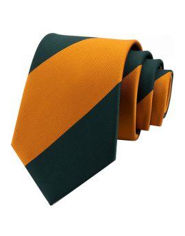 Green & Gold Stripes Men's Tie