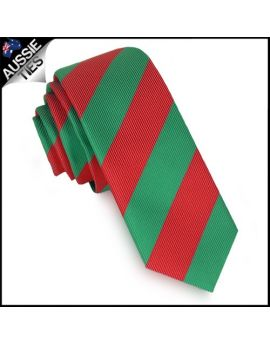 Mens Green & Red Stripes Skinny Tie