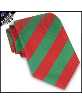Mens Green & Red Stripes Sports Tie