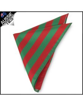 Mens Green & Red Striped Pocket Square Handkerchief