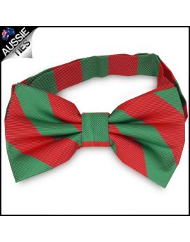 Mens Green & Red Stripes Bow Tie