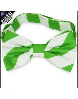 Mens Green & White Stripes Bow Tie