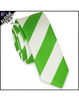 Mens Green & White Stripes Skinny Tie