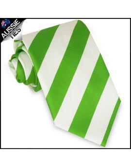 Mens Green & White Stripes Sports Tie