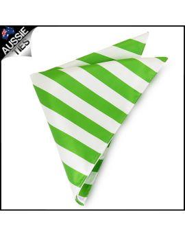 Mens Green & White Striped Pocket Square Handkerchief