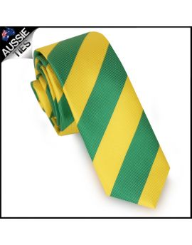 Mens Green & Yellow Stripes Skinny Tie